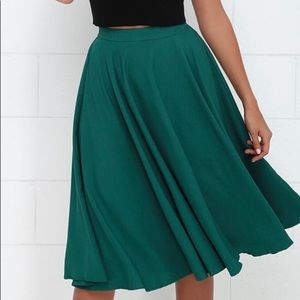 Lulu's Dark Teal Midi Skirt